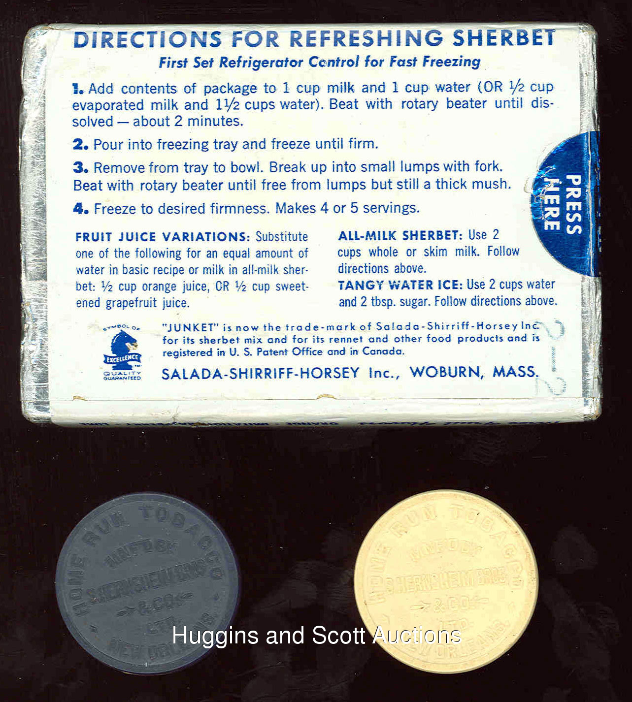 2) 1880s Home Run Coins and 1962 Salada Junket Sealed Pack